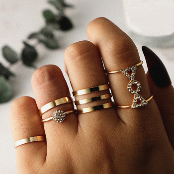 SexeMara 5pcs/set Bohemia Retro Crystal Ball Simple Hollow Punk Exquisite Knuck Silver Open Ring Women Wedding Anniversary Gift image