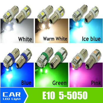 NEW Bright 6000k E10 SMD 5050 5 LED BULBS MES SCREW TORCH HEADLAMPS image