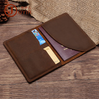 New Genuine Leather Men Passport Wallet Cover Top Quality Crazy Horse Cowhide Passport Holder Retro Travel