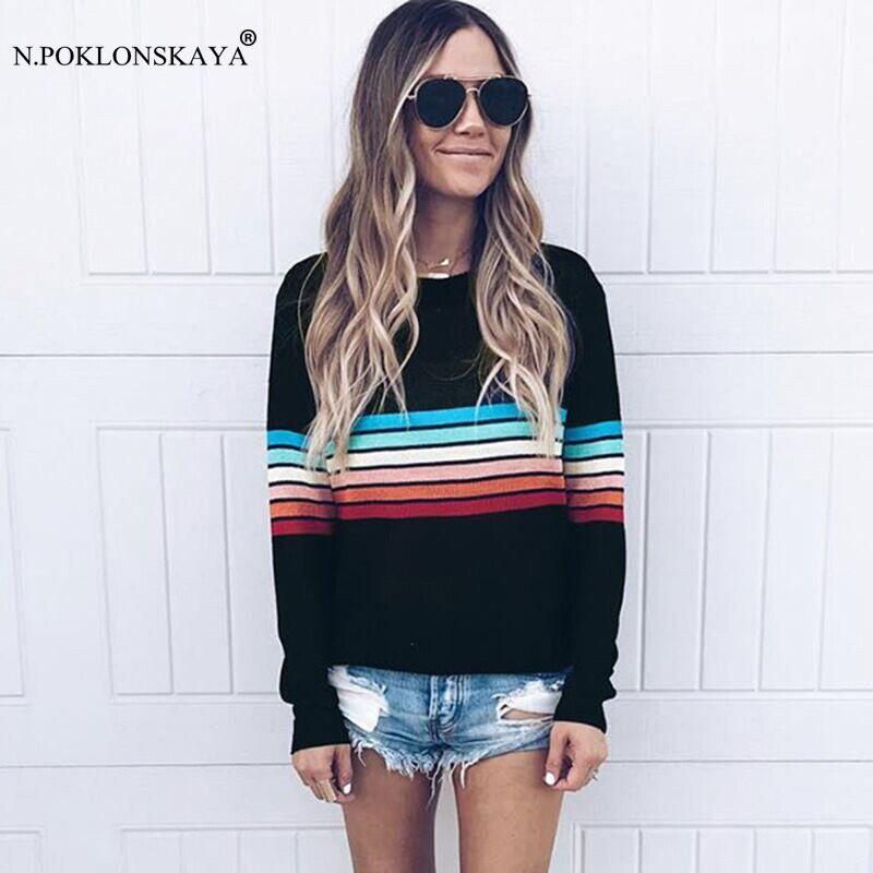 Female T-shirt Long Sleeve Shirt Women Autumn Tops Colorful Striped Loose Tshirt 2018 plus size Tee Shirt Femme Oversized Top
