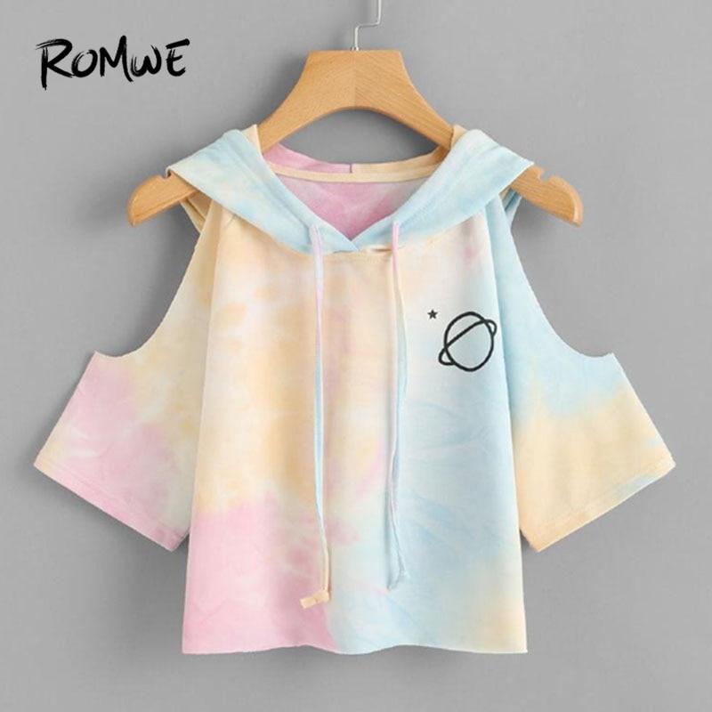 Di ROMWE Apri Spalla di Colore di Acqua Con Cappuccio Tee Shirt 2018 Multicolor 3/4 Manica Tie Dye Donne Top Coulisse Casual Crop T camicia