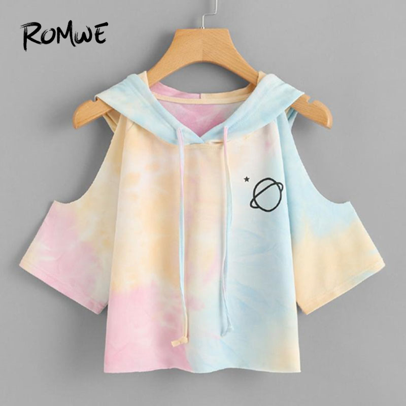 ROMWE Open Schouder Water Kleur Hooded Tee Shirt 2018 Multicolor 3/4 Mouw Tie Dye Vrouwen Top Drawsting Casual Crop T shirt