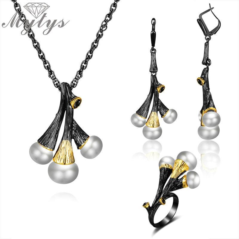 Mytys Vintage noir pistolet ensemble de Bijoux mode femmes perle pendentif Collier boucle d'oreille anneau néo-gothique Bijoux fantaisie Collier Bijoux