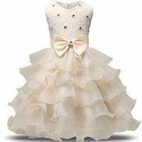 女の子プリンセスドレス女の子ウエディング白いレースのウェディングドレス赤ちゃんクリスマス服子供子供多層チュチュドレスで弓