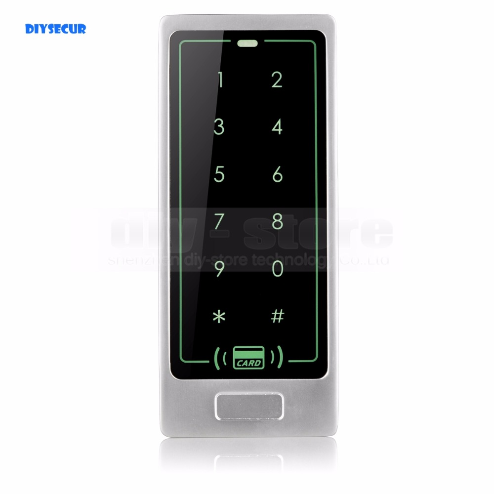 DIYSECUR Quality Access Controller Metal Case 125KHz RFID Reader Password Touch Keypad Backlight Brand New good quality metal case face waterproof rfid card access controller with keypad 2000 users door access control reader