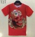 Camisa do crânio T Das Mulheres/homens 3d tshirt engraçado impressão flores Douradas Crânios Moda Novidade T-shirt Das Mulheres Encabeça Roupas