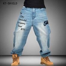 Plus Size 30-46 Fashion biker jeans denim overalls men Loose Long Trousers Mens Hip Hop Jeans Harem Skateboard brand clothing