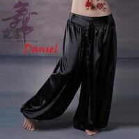 13 colores dancewear danza del vientre yoga mujeres hombres pantalones sueltos tobillo elástico de cintura alta bloomers del satén largo pantalones unisex
