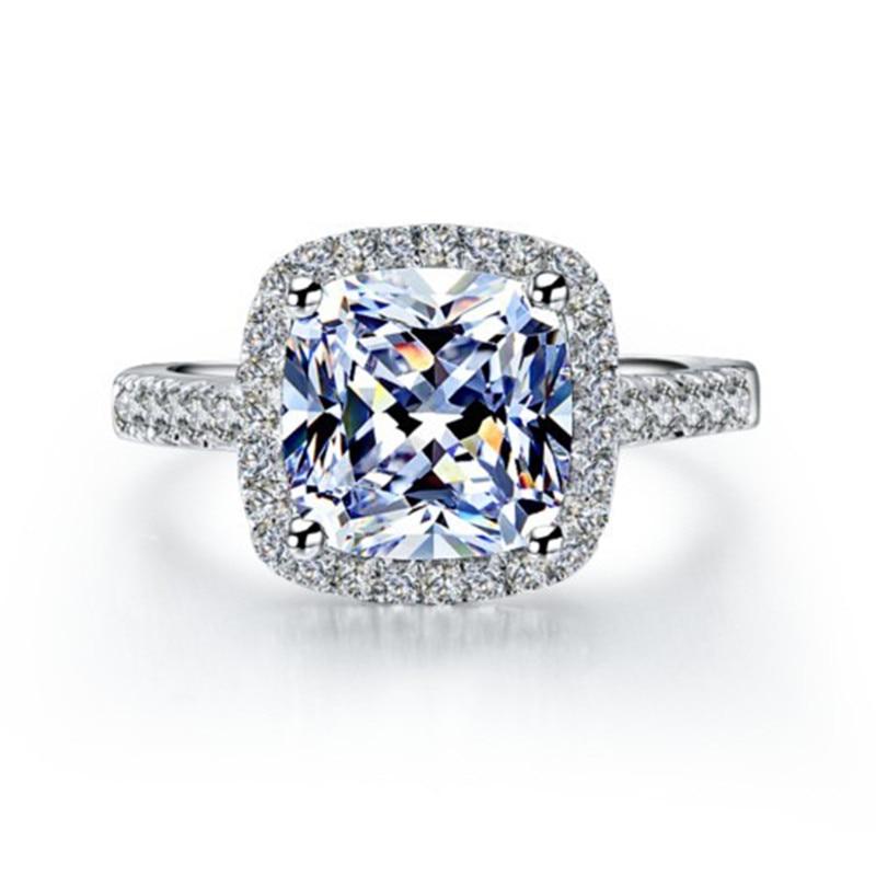 AINUOSHI Luxury 3 Carat Engagement Halo Rings Princess Stlye Cushion - მოდის სამკაულები - ფოტო 2