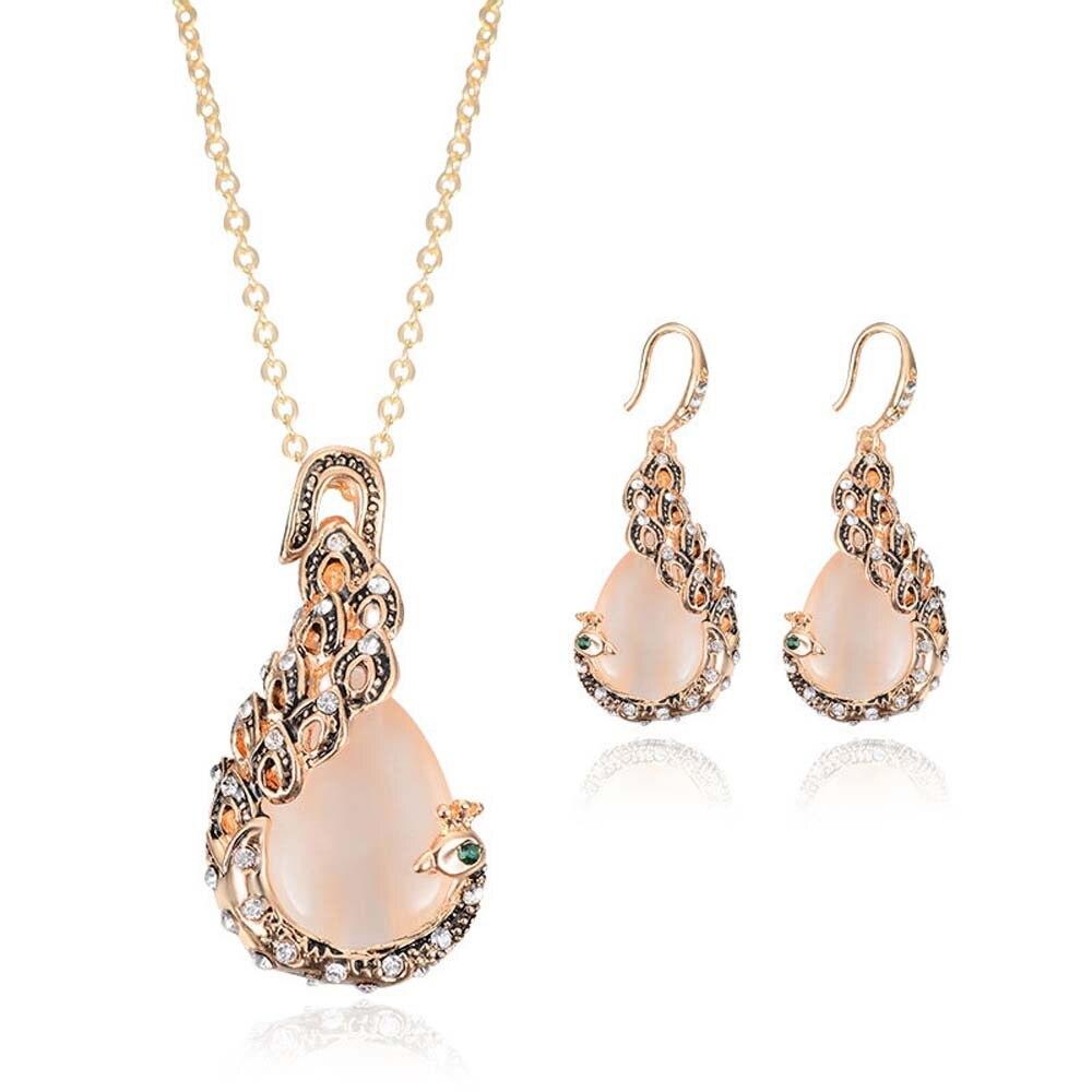 2018 Bridal Crystal Wedding Jewelry Set Alloy Necklace Earrings Rhinestone Gir Women Gift Wedding Party Event Jewelry Accessor