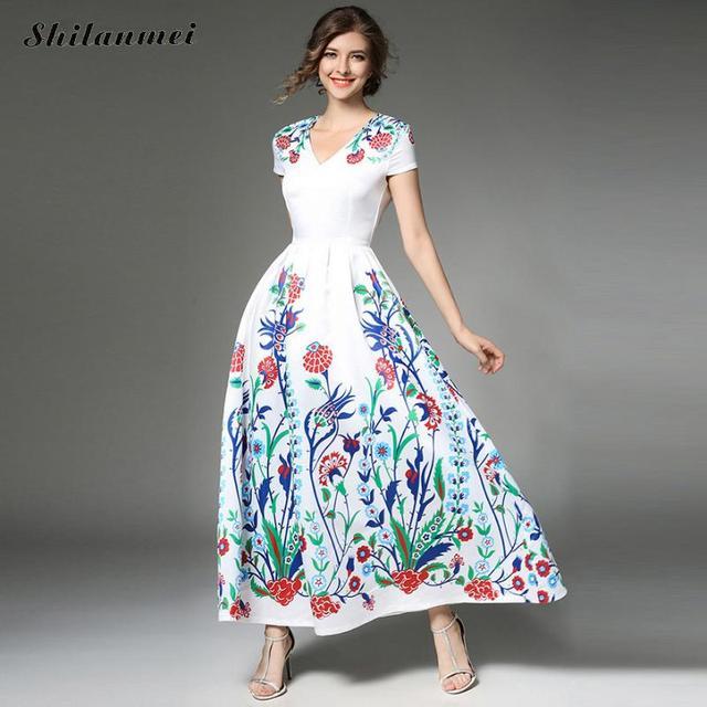 Elegant Fl Printed Maxi Dress Evening Wedding Bridesmaids Flower Vintage Party Long Summer White Robe