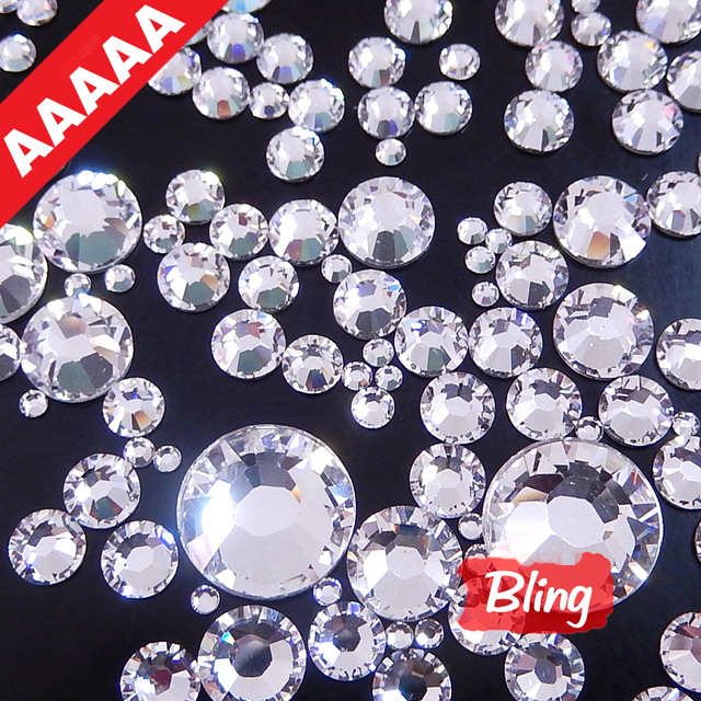 AAAAA Best Quality Mix 6 Size About 800 Pcs bag HotFix Rhinestone Shiny Glass  Crystal Iron On Hot Fix Strass With Glue B0333 20637740ce20