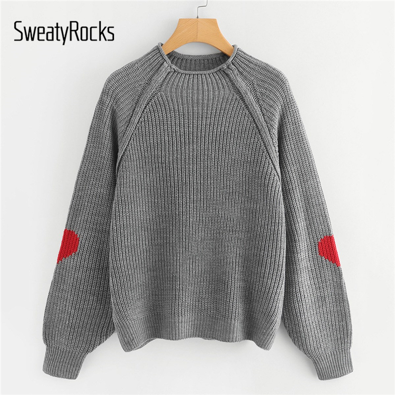 SweatyRocks Grey Knit Autumn Sweater Heart Insert Raglan Sleeve Women Jumper Long Sleeve Pullover Clothes 2018 Womens Sweaters-in Pullovers from Women's Clothing on AliExpress - 11.11_Double 11_Singles' Day 1