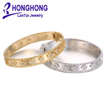 High Quality bangles For women Flower pattern Zirconia adorn bangle womens Wedding Noble elegant style Bride Bracelets jewelry