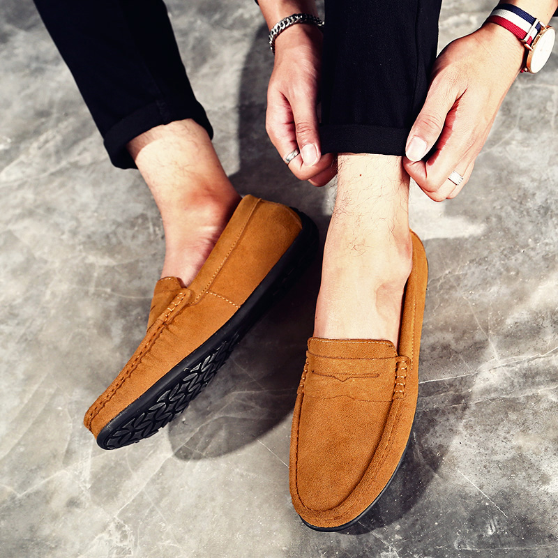 Rommedal Men Casual Shoes Suede Leather Soft Flat Non-slip Casual Shoes Man Moccasins Slip On Driving Walking Leisure Footwear