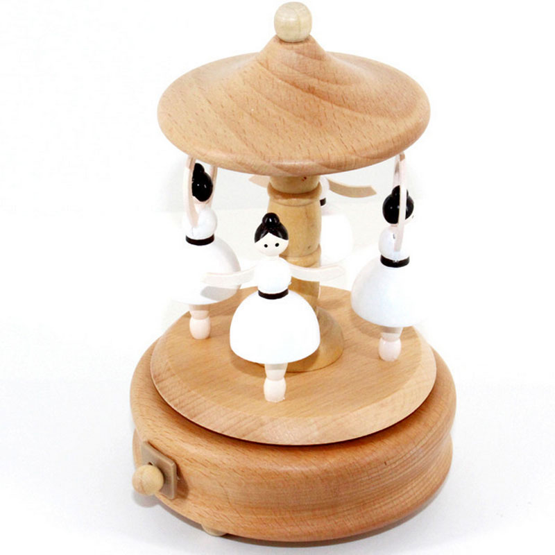 1 Piece Clockwork Ballet Dancers Music Ofbox Wood Toys For Children Handmade City of Sky Wind Up Toy Birthday Gifts For Kids