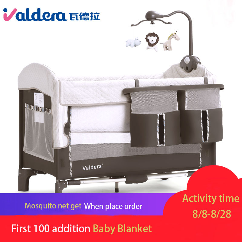 VALDERA Foldable Crib Multi-function Splicing Large Bed Portable Baby Travel Bed