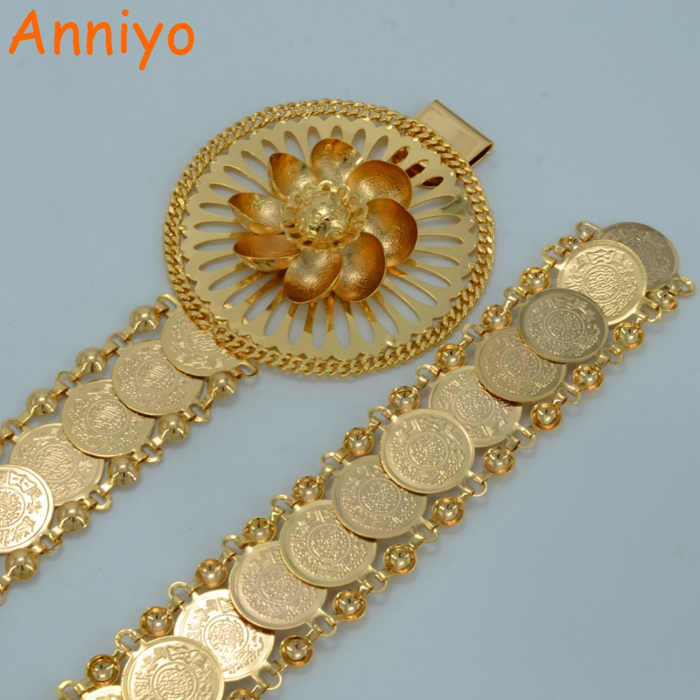 Anniyo 104CM Metal Arab Metal Coin Belt Chains Women Middle East Waistband Jewelry Ethnic Gift Turkey/Egypt/Iraq/Kurdish #010612