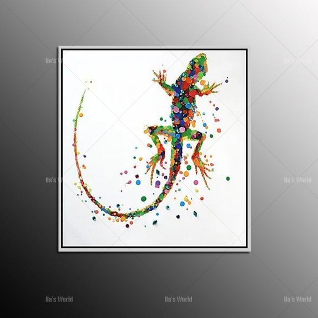 No Framed Handmade Large Modern Colorful Lovely Animal Gecko Oil ...