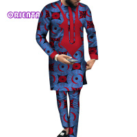 African Men Clothes Long Sleeve Shirt Gown and Pants Set Traditional African Bazin Riche Print Tops Gown and Trousers WYN540