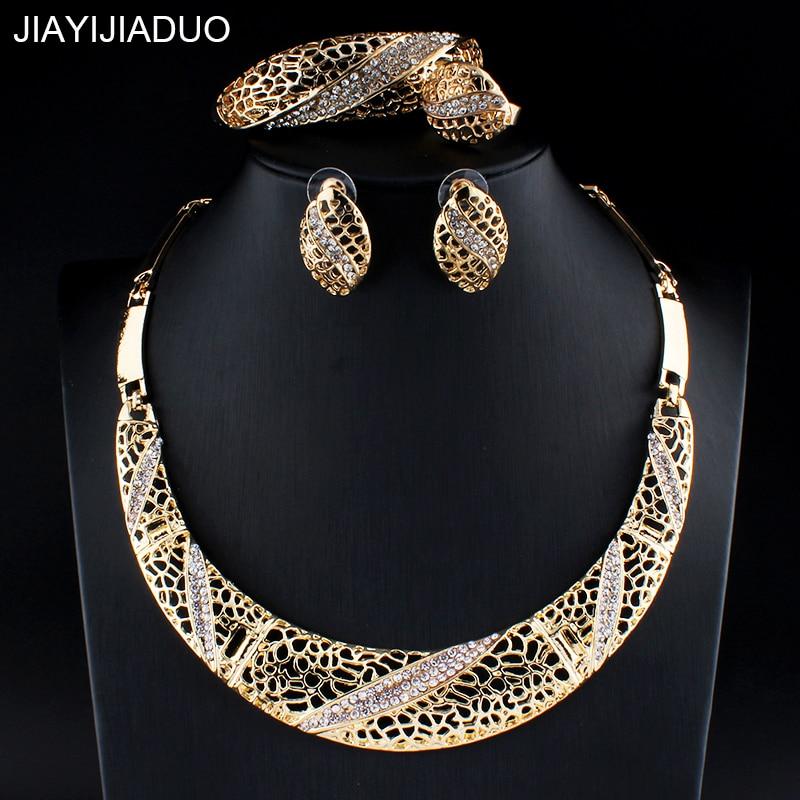 Erfinderisch Jiayijiaduo Afrikanischen Schmuck-set Für Frauen Hochzeit Zubehör Zubehör Gold Farbe Halskette Ohrringe Armbänder Ringe Sets Wohltuend FüR Das Sperma Schmuck & Zubehör
