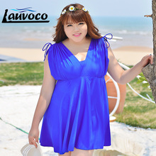 2015 Plus Size Swimwear One Piece Bathing Suit Solid Color Sleeve Women Dress Swimsuit Big Girl Skirt Beach Dress 4XL - 7XL women swimsuit one piece swimsuit 2017 sexy plus size one piece swimwear new bathing dress big plus size lady beach suit for wom