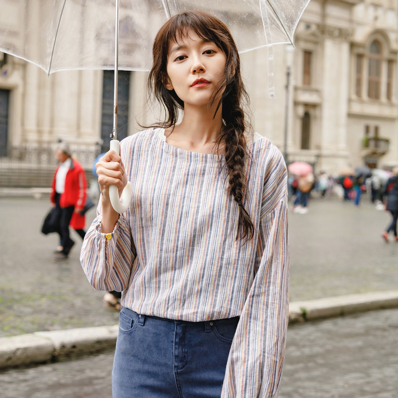 INMAN Spring Boat Neck Long Sleeve Linen Artistic Striped Patchwork Shirt Women