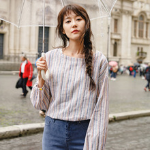 INMAN Spring Boat Neck Long Sleeve Linen Artistic Striped Patchwork Shirt Women