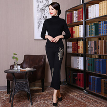 New Black Vintage Embroidery Flower Chinese Women Shirt&Pant Suit Lady Traditional Knitting Woolen Warm Thick Set L-XXL
