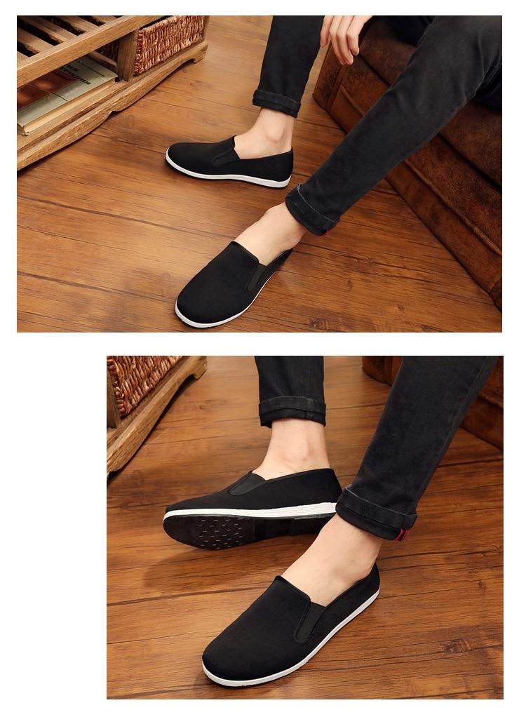 Preto respirável asa chun kung fu sapatos