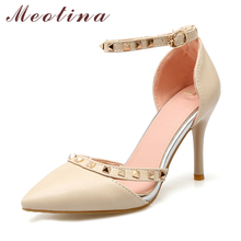 Meotina Zapatos Mujer Autumn Ankle Strap High Heels Plus Size 34-43 Pointed Toe Stiletto Two Piece Rivets Party Pumps Beige Red