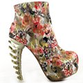 LF40611 Punk Multicolored Skull Zip High-top Bone High Heel Hidden Platform Ankle Boots