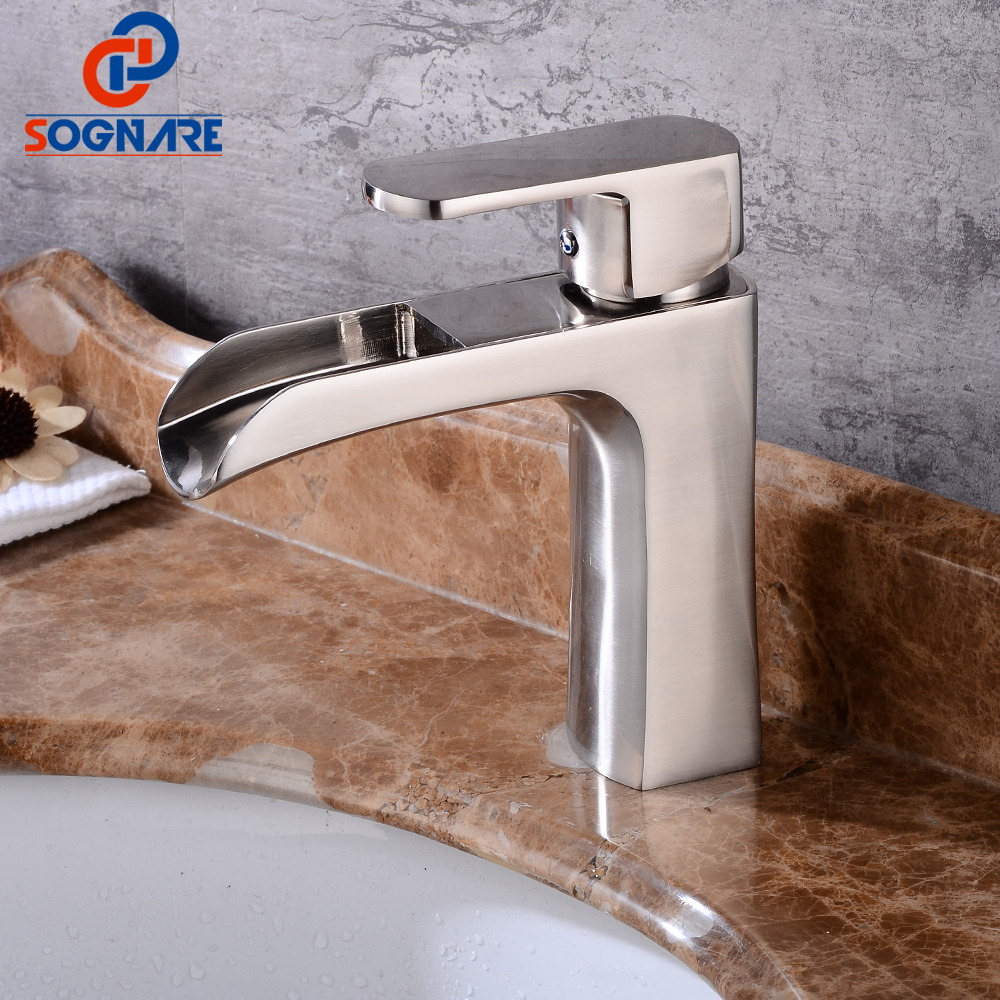 SOGNARE Waterfall Bathroom Basin Faucet Single Handle Sink Faucet Hot and Cold Bathroom Water Mixer Tap Ceramic Vessel Crane micoe hot and cold water basin faucet mixer single handle single hole modern style chrome tap square multi function m hc203