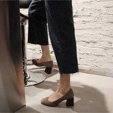 ФОТО popolar brief spring and autumn thick heel vintage color block decoration velvet single shoes female medium hells  square toe