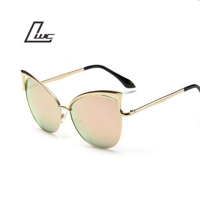 Pink vintage Mirror female Women Cat Eye Sunglasses Brand Designer ladies Sun glasses for women Eyewear Oculos Feminino