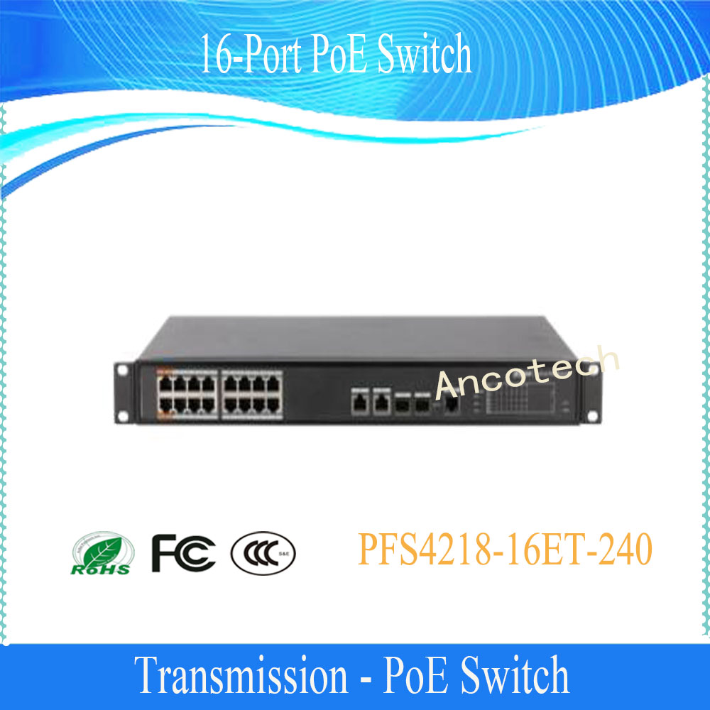 Free Shipping Security Cctv Transmission 16-port Poe Switch Dh-pfs4218-16et-240 Clear-Cut Texture Transmission & Cables