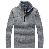 חדש חורף 2018 Mens סוודרים מקרית שרוול ארוך סוודר סרוג Jumper זכר צמר צבע אחיד צבאית גברים גולף עבה