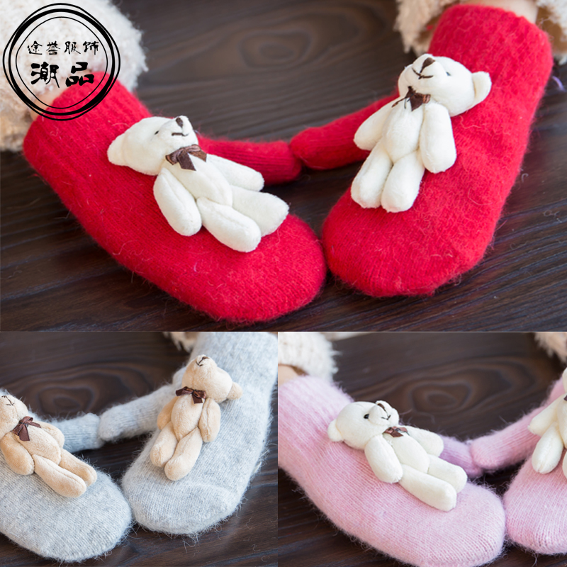 Autumn Winter Girls Cashmere Gloves Cartoon Bear Rabbit Fur Wool Mitten Gloves Sweet Elegant All Match Kids Grey Gloves