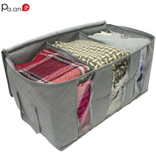 Bamboo Charcoal Underbed Storage Cloth Box Stackable Clothes Organizer Transparent Bag Wardrobe Bags 65L