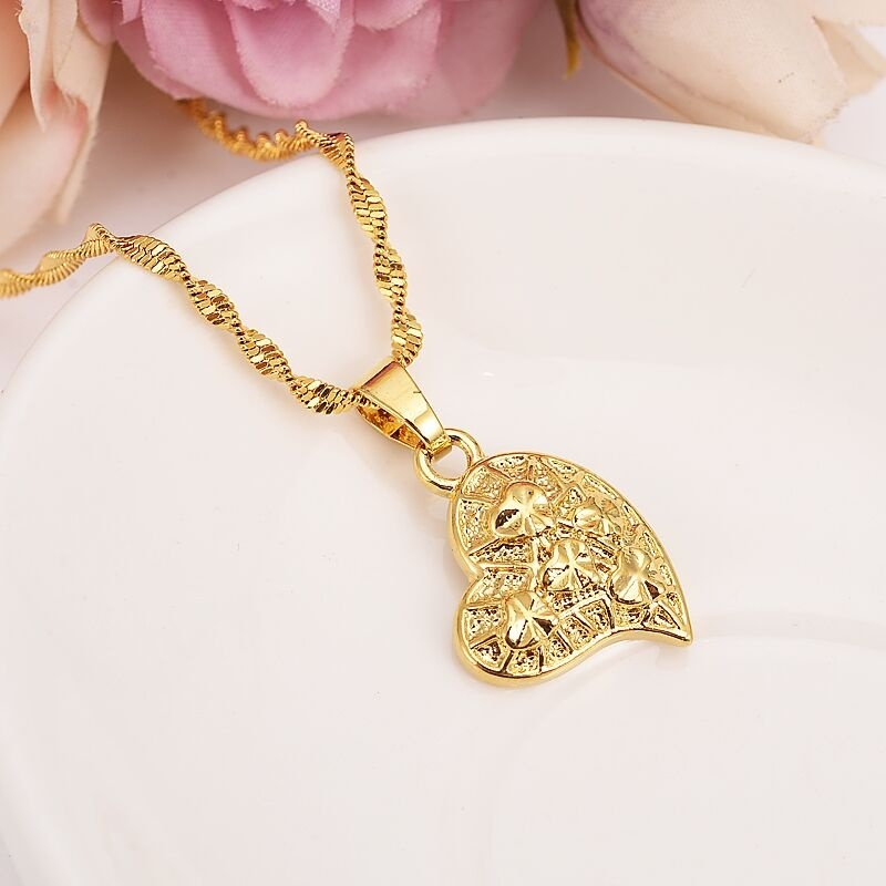 Diagonal five stars Heart Pendant Necklaces Earring Romantic Jewelry 24 k Fine Solid Gold Finish Womens gift Girlfriend Wife