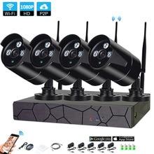 4CH 1080 P HD Беспроводной NVR Kit P2P 1080 P внутренний наружный IR Ночное Видение безопасности 2.0MP IP Камера WI-FI CCTV Системы