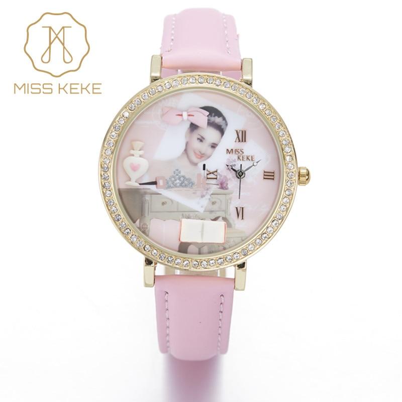 Miss Keke 3d Clay Cute Audrey Hepburn Theepot Strass Horloges Vintage Grace Middag Dames Dames Lederen Horloges 1816