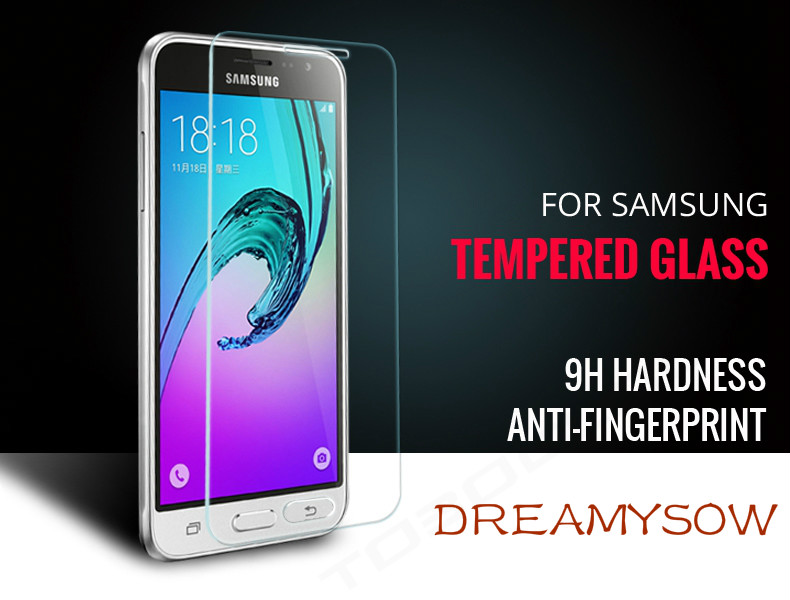 DREAMYSOW For Samsung Galaxy J1 J2 J3 J5 J7 Prime A310 A510 2016 Premium 9H Tempered Glass Screen Protector Toughened Protective