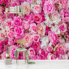 Nordic modern pink rose TV background wall professional production wallpaper mural custom poster photo