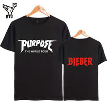 BTS Justin Bieber 2017New Style Purpose Popstar t-shirt Kpop Fashion hip-hop men/women summer short sleeve clothes plus size 4xL(China)