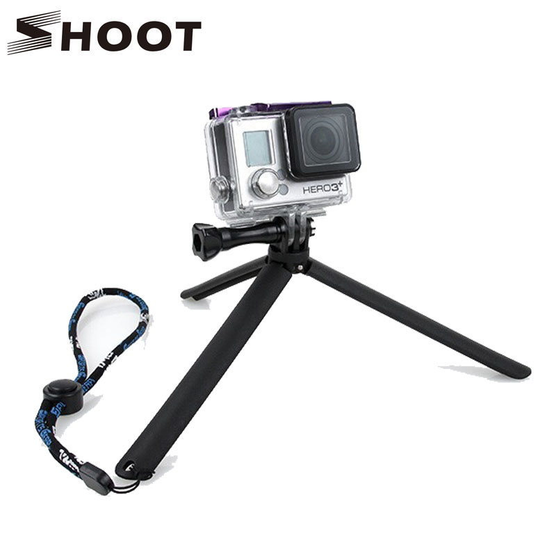 SHOOT Portable Tripod Stand for Gopro Hero 2 3 3+ 4 4 Session Xiaomi yi 4K SJCAM SJ4000 SJ9000 wifi H8 camera Tripod Accessories