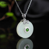 CSJ Natural Hetian Jade Pendants 925 Sterling Silver Engagement Necklace For Women Wedding Party Gift Fine Jewelry
