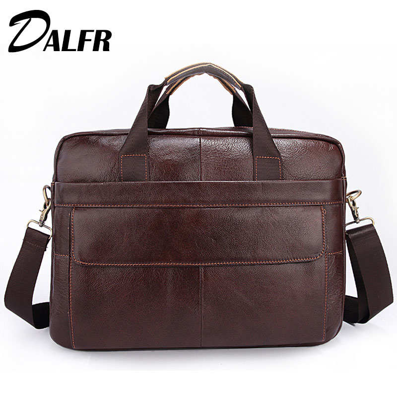 DALFR Cowhide Handbags Fashion Zipper Style Briefcase Solid Water Proof Messenger Bags 18 Inch Leather Crossbody Bags for Men
