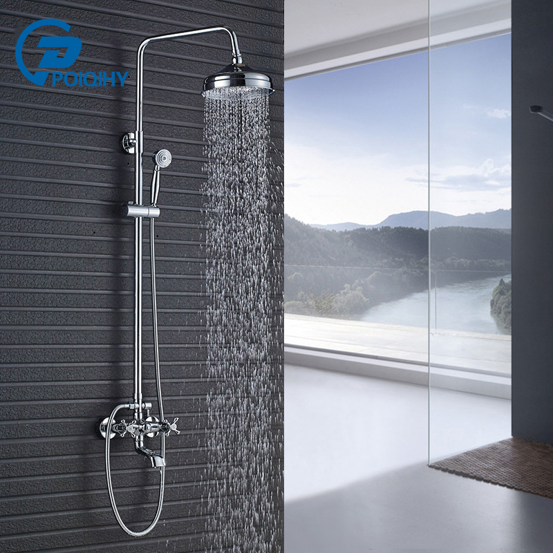 POIQIHY Polished Chrome Wall Mounted 8 Round Rainfall Shower Faucet Set With Tub Mixer Spout Tap poiqihy wall mounted chrome shower faucet bathroom rainfall shower set faucet tub with handheld sprayer bathroom mixer tap