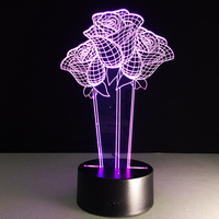 7 Color Change Rose Acrylic 3D Light LED  Living Table Lamp Micro USB Mood Light For Bedroom Bedside Lover Valentines Wife Gift table lamp lamp table lamp acrylic 3d table lamp -